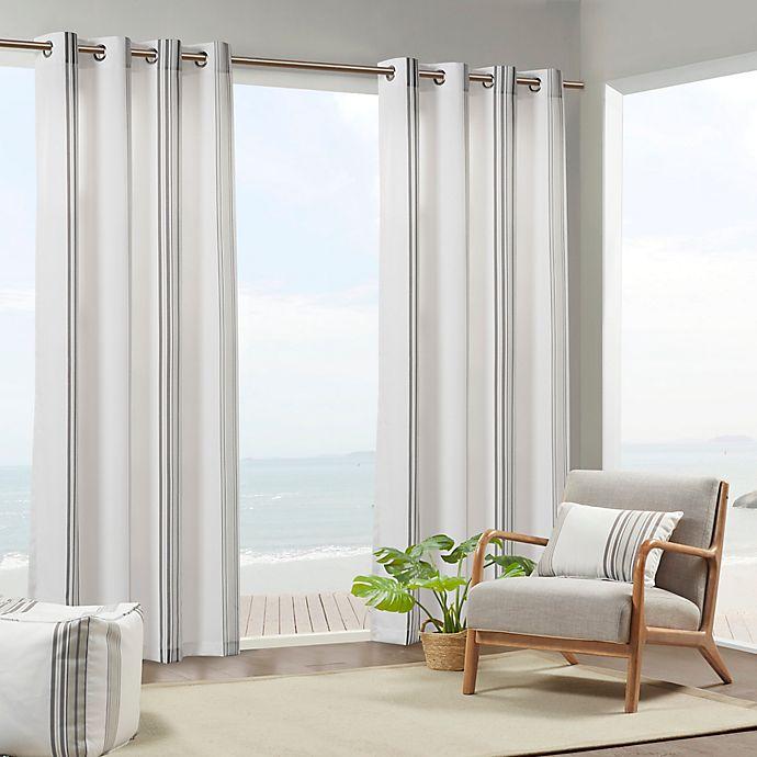 Alternate image 1 for Madison Park Sandbar Printed Stripe 3M Scotchgard Grommet Top Outdoor Curtain Panel (Single)