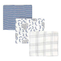 Touched by Nature 3-Pack Elephant Organic Cotton Swaddle Blankets in Blue