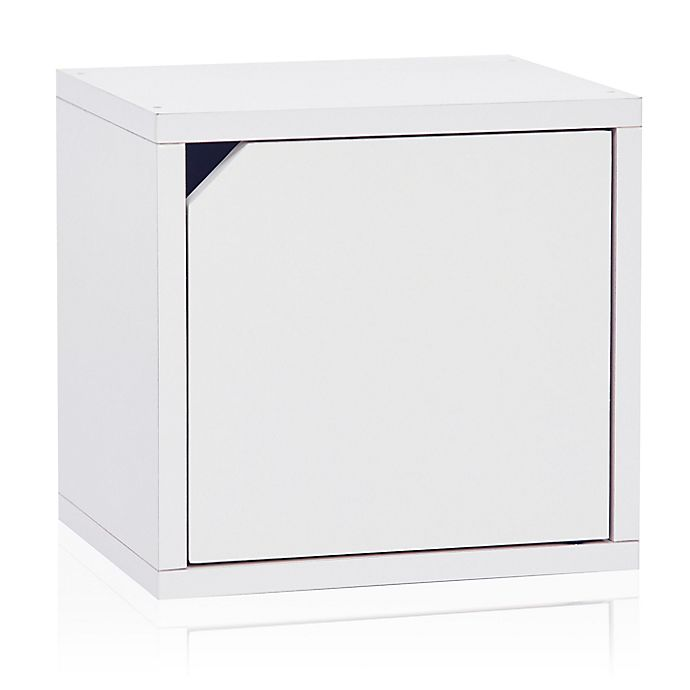 Alternate image 1 for Way Basics Tool-Free Assembly zBoard paperboard Connect Storage Cube with Door in White