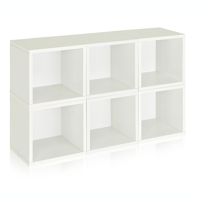 Alternate image 1 for Way Basics Tool-Free Assembly zBoard paperboard Storage Cubes in White  (Set of  6 Cubes)