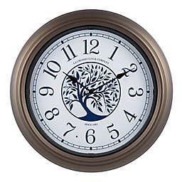 La Crosse Clock Company Light-Up Dial 18-Inch Indoor/Outdoor Wall Clock in Brown/White