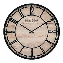 La Crosse Clock Company Barrow 11.5-Inch Wall Clock in Wood/Black