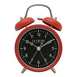 La Crosse Clock Company Twin Bell Alarm Clock in Red/Black