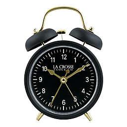 La Crosse Clock Company Twin Bell Alarm Clock in Black/Gold