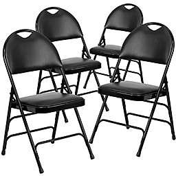 Flash Furniture Vinyl 4-Pack Folding Chair in Beige
