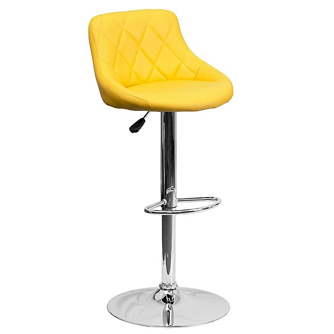 Alternate image 1 for Flash Furniture Contemporary Vinyl Adjustable Diamond Back Bucket Seat Bar Stool