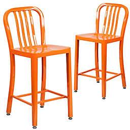 Flash Furniture 24-Inch Metal Stool with Back in Orange (Set of 2)