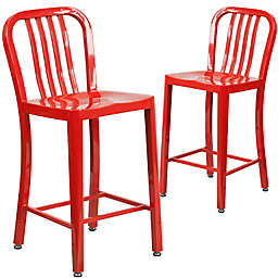 Flash Furniture 24-Inch Metal Stool with Back in Red (Set of 2)