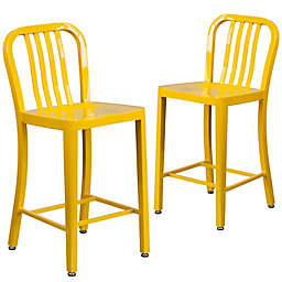 Flash Furniture 24-Inch Metal Stool with Back in Yellow (Set of 2)