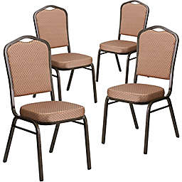 Flash Furniture HERCULES Fabric Banquet Chairs in Beige/Gold (Set of 4)