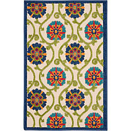 Nourison Aloha Floral 2'8 x 4' Indoor/Outdoor Accent Rug in Blue