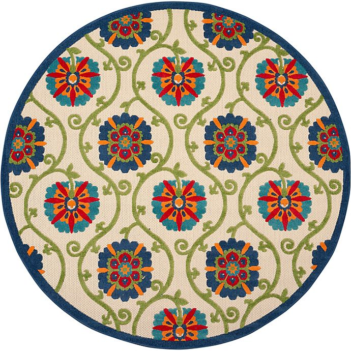 Alternate image 1 for Nourison Aloha Floral 7'10 Round Indoor/Outdoor Area Rug in Blue