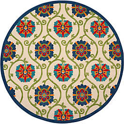 Nourison Aloha Floral 7'10 Round Indoor/Outdoor Area Rug in Blue