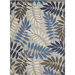 "Nourison Aloha 7'10"" x 10'6"" Leaf Design Indoor/Outdoor Rug in Grey/Blue"