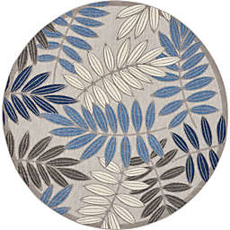 Nourison Aloha Floral 7'10 Round Indoor/Outdoor Area Rug in Grey/Blue