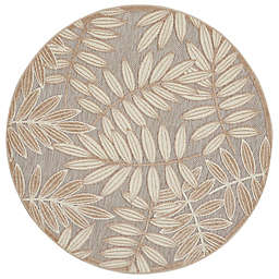 Nourison Aloha 4' x Round Botanical Indoor/Outdoor Rug in Natural