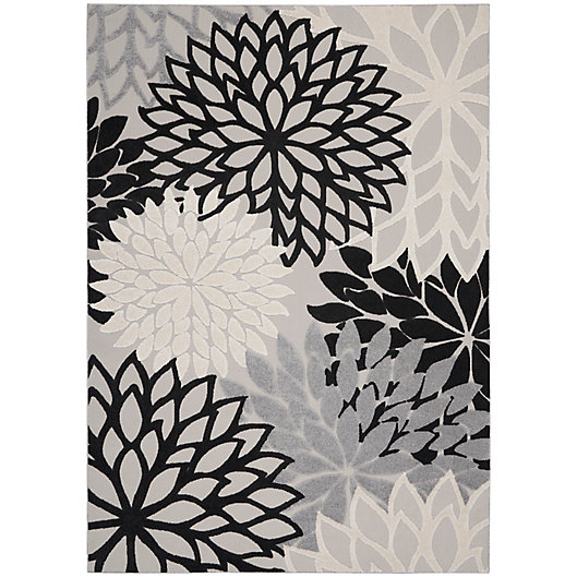 Alternate image 1 for Nourison Aloha 7' x 10' Textured Floral Indoor/Outdoor Rug in Black/White