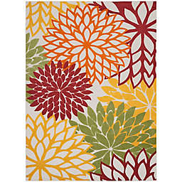 """Nourison Aloha 7'10"""" x 10'6"""" Textured Floral Indoor/Outdoor Rug in Red/Multi"""