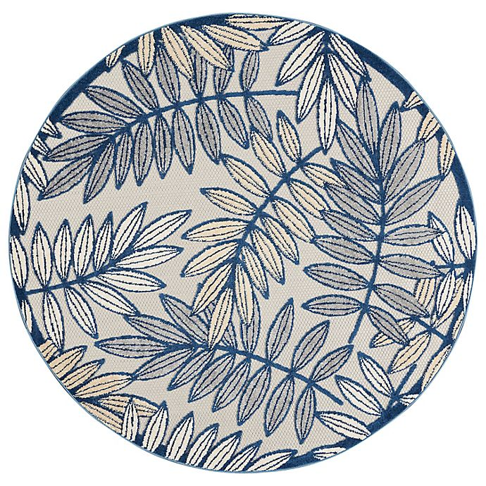 Alternate image 1 for Nourison Aloha Floral 5'3 Round Indoor/Outdoor Area Rug in Ivory/Navy