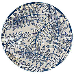 Nourison Aloha Floral 5'3 Round Indoor/Outdoor Area Rug in Ivory/Navy