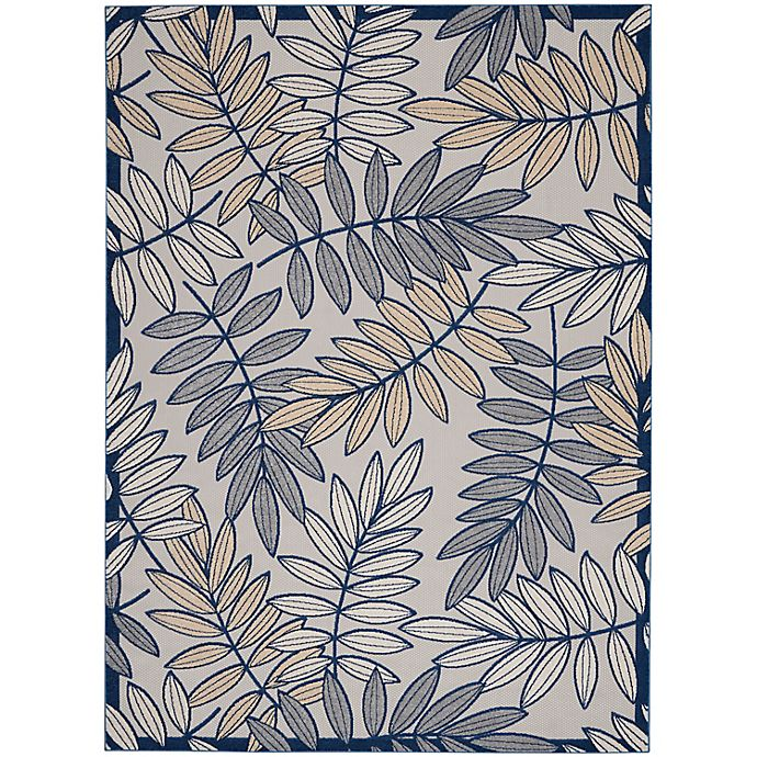 Alternate image 1 for Nourison Aloha Floral 7' x 10' Indoor/Outdoor Area Rug in Ivory/Navy