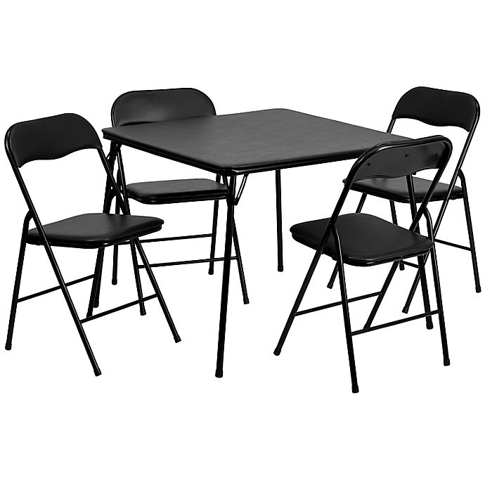 Alternate image 1 for Flash Furniture 5-Piece Folding Card Table and Chairs Set in Black