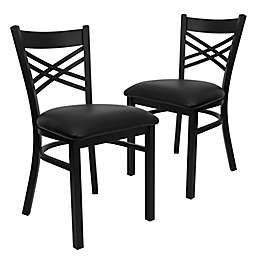 Flash Furniture X-Back Black Metal Chairs with Vinyl Seats (Set of 2)