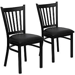 Flash Furniture Vertical Slat Black Metal Dining Chairs with Vinyl Seat (Set of 2)