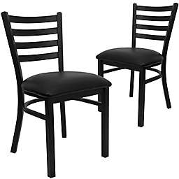 Flash Furniture Ladder Back Metal Chairs with Vinyl Seats (Set of 2)