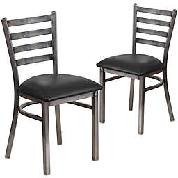 Flash Furniture Ladder Back Clear Coated Metal Chairs with Vinyl Seats (Set of 2)