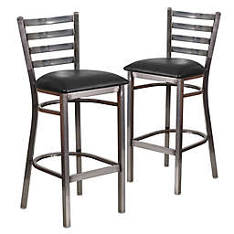 Flash Furniture Ladder Back Clear Coated Metal Stools with Black Vinyl Seats (Set of 2)