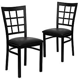 Flash Furniture Window Back Black Metal Chairs with Vinyl Seats (Set of 2)