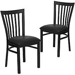 Flash Furniture School Back Black Metal Chairs with Vinyl Seats (Set of 2)