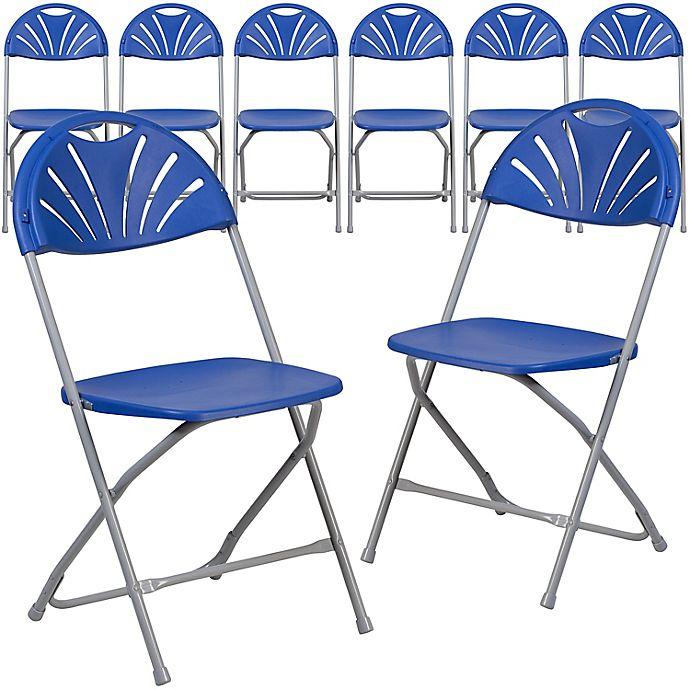 Alternate image 1 for Flash Furniture Fan Back Plastic Folding Chairs (Set of 8)