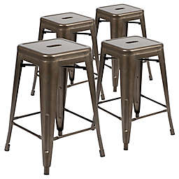 Flash Furniture Stackable Metal Bar Stools (Set of 4)