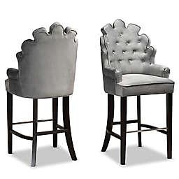 Baxton Studio Gabriel Velvet Upholstered Bar Stools in Dark Grey/Dark Brown (Set of 2)