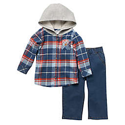 Carhartt® Long Sleeve Flannel Hooded Shirt and Denim Work Pant Set in Blue