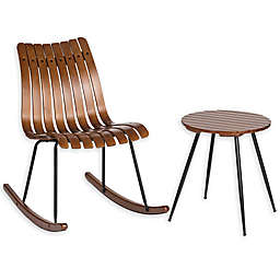 Glitzhome® Bamboo Rocking Chair and Accent Table 2-Piece Set