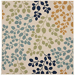 Nourison Caribbean Botanical 5'3 Square Indoor/Outdoor Area Rug in Ivory