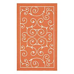 """Nourison Home & Garden 2'3"""" x 3'9"""" Bordered Indoor/Outdoor Rug in Orange"""