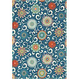 Waverly® Sun N' Shade Vivid Floral 5'3 x 7'5 Indoor/Outdoor Area Rug in Blue/Multi