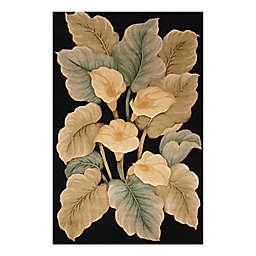 Nourison Tropics Calla Lilies 8' x 11' Area Rug in Black