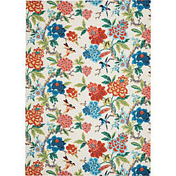 Waverly® Sun N' Shade Vibrant Florals 7'9 x 10'10 Indoor/Outdoor Area Rug in Ivory