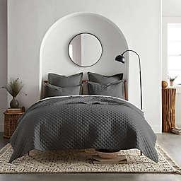 Linen/Cotton 3-Piece King Quilt Set in Dark Grey