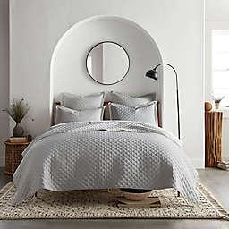 Linen/Cotton 3-Piece King Quilt Set in Light Grey