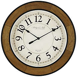 Sterling & Noble® 18-Inch Round Traditional Wood Veneer Wall Clock in Walnut