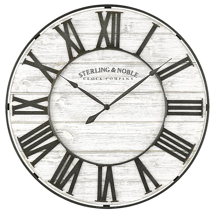 Alternate image 1 for Sterling & Noble® 18-Inch Round Rustic Wood and Metal Roman Grill Wall Clock in White