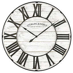 Sterling & Noble® 18-Inch Round Rustic Wood and Metal Roman Grill Wall Clock in White