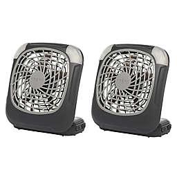 Treva® 5-Inch Battery-Powered LED Desk Fans in Grey (Set of 2)