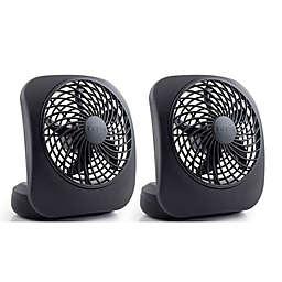 Treva® 5-Inch Battery Powered Desk Fans (Set of 2)